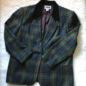 Vintage Plaid Wool Blend Faux Suede Collar Blazer